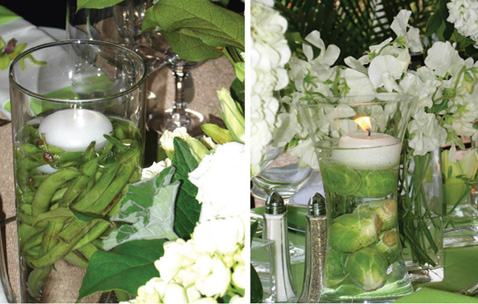 Green beans and brussel sprouts in candle centerpieces I love it